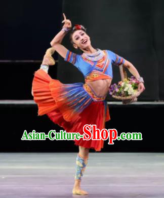 Menogga Garden Chinese Zhuang Nationality Dance Blue Dress Stage Performance Dance Costume and Headpiece for Women