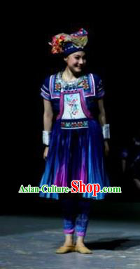 Menogga Garden Chinese Zhuang Nationality Folk Dance Blue Dress Stage Performance Dance Costume and Headpiece for Women