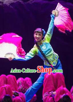 Drama Lan Huahua Chinese Folk Dance Blue Dress Stage Performance Dance Costume and Headpiece for Women