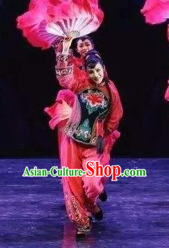 Drama Lan Huahua Chinese Folk Dance Fan Dance Dress Stage Performance Dance Costume and Headpiece for Women