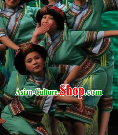 Goddess Ya Song Chinese Zhuang Nationality Dance Green Dress Stage Performance Dance Costume and Headpiece for Women