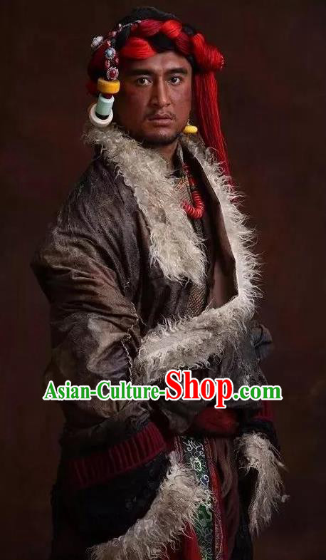 The Heavenly Road Chinese Zang Nationality Grey Clothing Stage Performance Dance Costume and Headpiece for Men