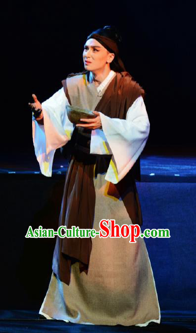 Goddess of the Moon Chinese Peking Opera Civilian Clothing Stage Performance Dance Costume and Headpiece for Men