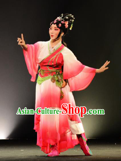 Goddess of the Moon Chinese Peking Opera Diva Rosy Dress Stage Performance Dance Costume and Headpiece for Women