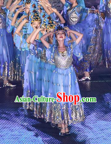 Mu Lan Qiu Xian Ceremony Chinese Classical Dance Blue Dress Stage Performance Dance Costume and Headpiece for Women