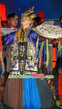 Mu Lan Qiu Xian Ceremony Chinese Mongol Nationality Dance Clothing Stage Performance Dance Costume and Headpiece for Men