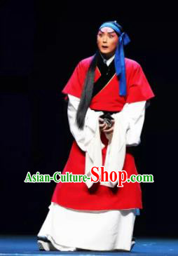 Mei Hua Zan Chinese Beijing Opera Niche Red Clothing Stage Performance Dance Costume and Headpiece for Men