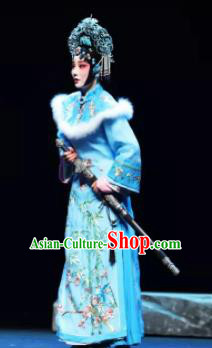 Mei Hua Zan Ceremony Chinese Beijing Opera Princess Blue Dress Stage Performance Dance Costume and Headpiece for Women