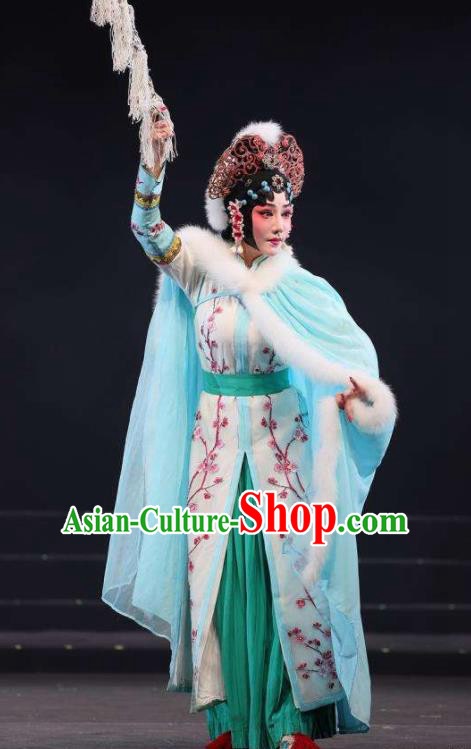 Mei Hua Zan Ceremony Chinese Beijing Opera Diva Green Dress Stage Performance Dance Costume and Headpiece for Women