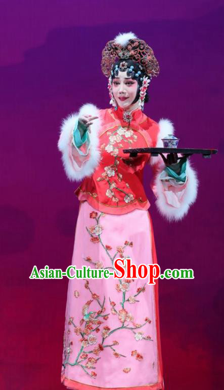 Mei Hua Zan Ceremony Chinese Beijing Opera Diva Pink Dress Stage Performance Dance Costume and Headpiece for Women
