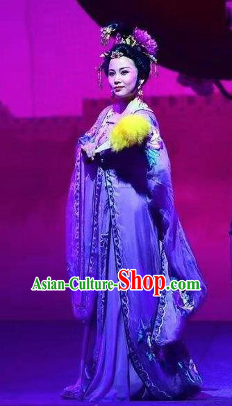Amber Fate Chinese Beijing Opera Empress Dowager Purple Dress Stage Performance Dance Costume and Headpiece for Women
