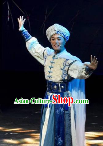 Drama Qian Yun Cliff Chinese Zhuang Nationality Bridegroom Clothing Stage Performance Dance Costume and Headpiece for Men