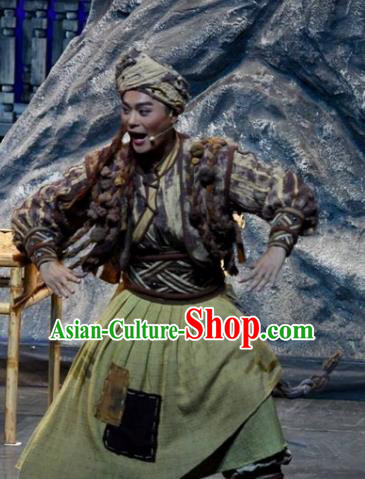 Drama Qian Yun Cliff Chinese Zhuang Nationality Clothing Stage Performance Dance Costume and Headpiece for Men