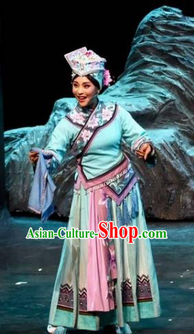 Drama Qian Yun Cliff Chinese Zhuang Nationality Blue Dress Stage Performance Dance Costume and Headpiece for Women