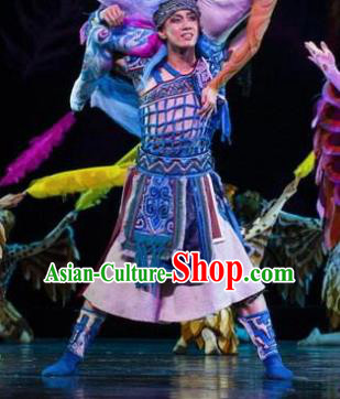 Hundred Bird Dress Chinese Zhuang Ethnic Youth Dance Clothing Stage Performance Dance Costume and Headpiece for Men