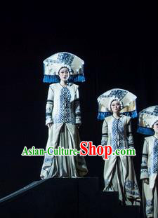 Hundred Bird Dress Chinese Zhuang Nationality Dance White Dress Stage Performance Dance Costume and Headpiece for Women