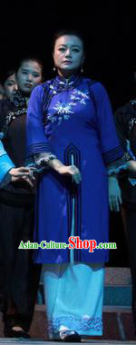 Shi Niang Chinese Classical Dance Young Mistress Blue Dress Stage Performance Dance Costume and Headpiece for Women