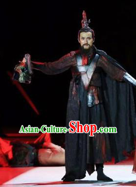 Drama Chinese Orphan Chinese Ancient General Black Clothing Stage Performance Dance Costume and Headpiece for Men