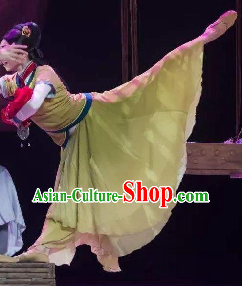 Chinese Orphan Classical Dance Ancient Court Green Dress Stage Performance Dance Costume and Headpiece for Women