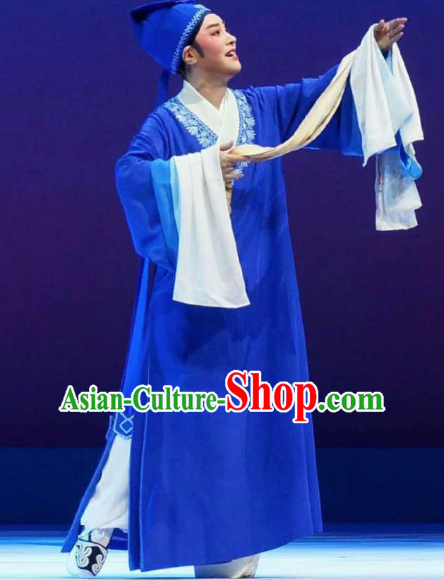 Xiang Luo Ji Chinese Shaoxing Opera Scholar Blue Clothing Stage Performance Dance Costume and Headpiece for Men