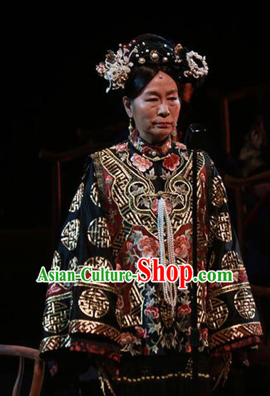 Beijing Fayuansi Chinese Qing Dynasty Empress Dowager Cixi Dress Stage Performance Dance Costume and Headpiece for Women