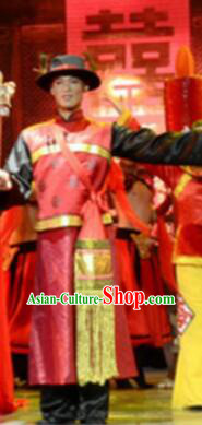 Gucuo Marriage Chinese Traditional Bridegroom Clothing Stage Performance Dance Costume and Headpiece for Men