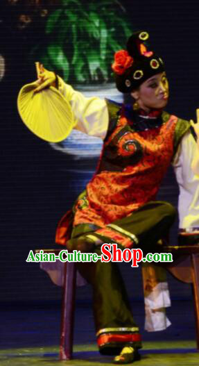 Gucuo Marriage Chinese Folk Dance Matchmaker Dress Stage Performance Dance Costume and Headpiece for Women