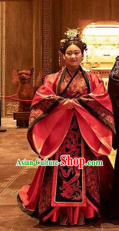 Tian Han Legend Chinese Ancient Han Dynasty Queen Dress Stage Performance Costume and Headpiece for Women