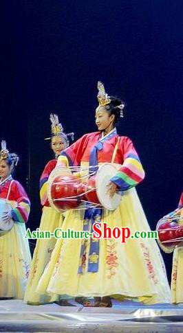 Chinese Korean Nationality Dance Dress Stage Performance Costume and Headpiece for Women