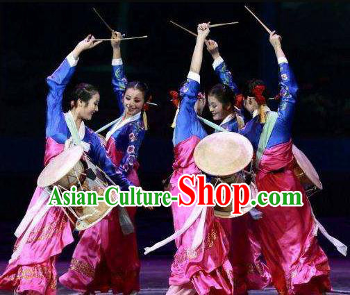 Chinese Korean Nationality Dance Rosy Dress Stage Performance Costume and Headpiece for Women