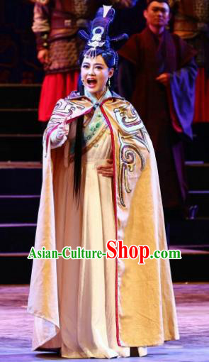 Cai Wenji Chinese Opera Ancient Female Literator Dress Stage Performance Dance Costume and Headpiece for Women