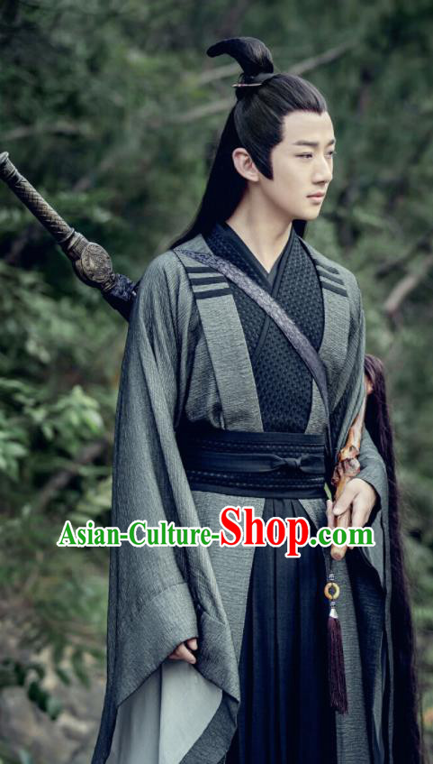 Chinese Drama The Untamed Ancient Taoist Priest Swordsman Song Lan Black Costumes for Men