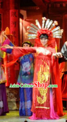 Gucuo Marriage Chinese Folk Dance Wedding Red Dress Stage Performance Dance Costume and Headpiece for Women