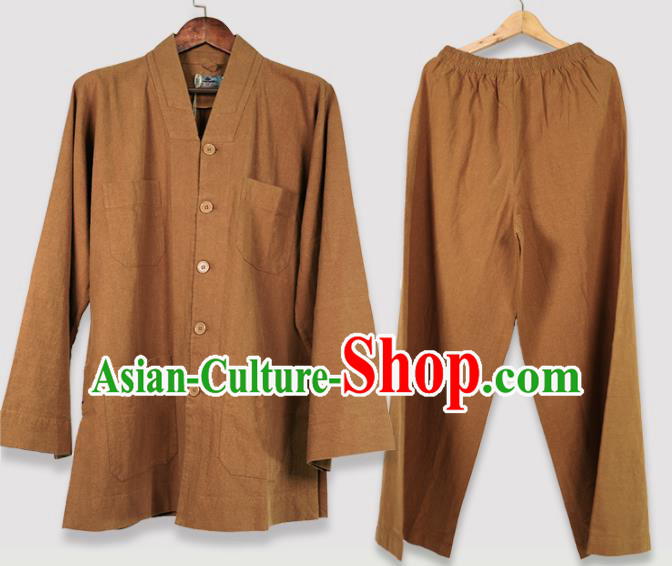 Traditional Chinese Monk Costume Meditation Light Tan Shirt and Pants for Men