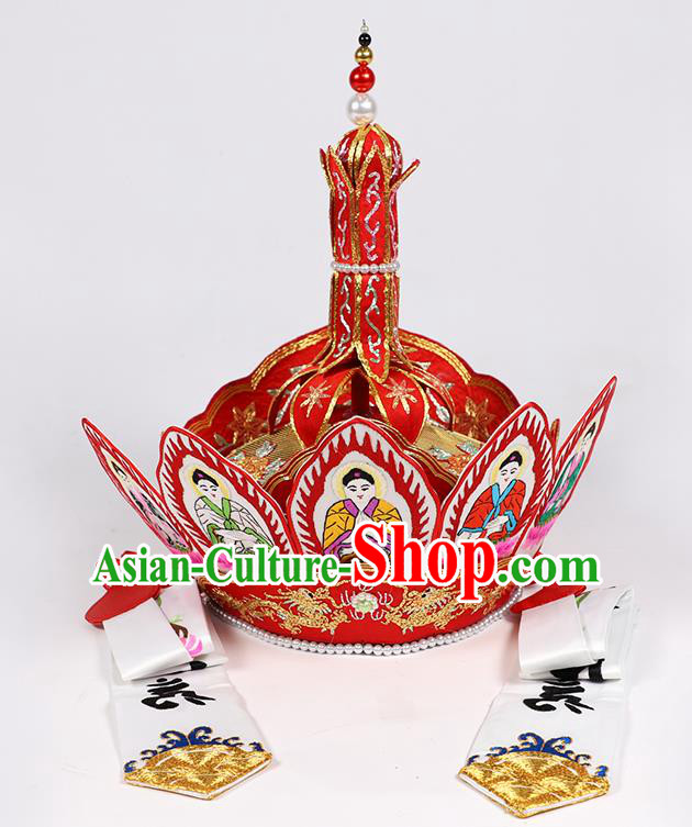 Traditional Chinese Monk Red Hats Buddhism Headwear for Men