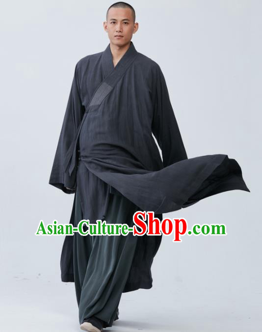 Traditional Chinese Monk Costume Grey Long Gown for Men