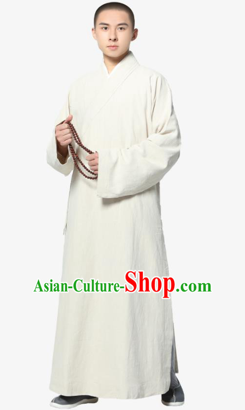 Traditional Chinese Monk Costume White Ramie Long Gown for Men