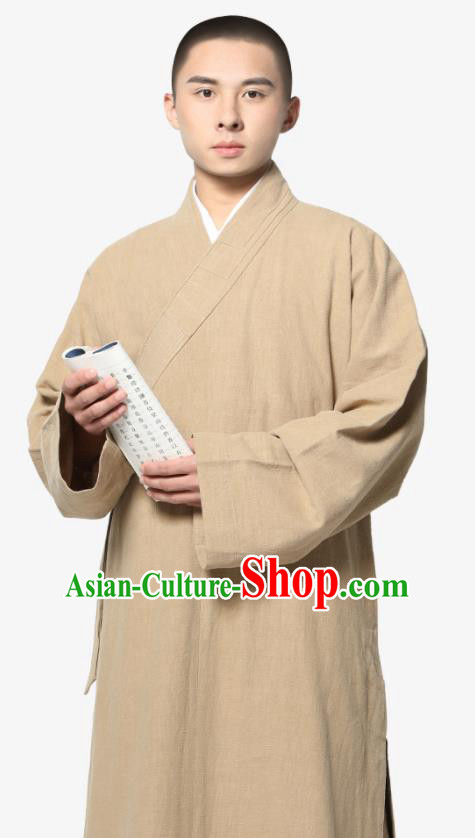 Traditional Chinese Monk Costume Khaki Ramie Long Gown for Men