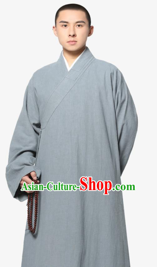 Traditional Chinese Monk Costume Grey Ramie Long Gown for Men
