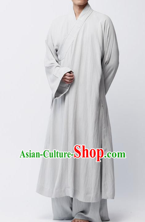 Traditional Chinese Monk Costume Lay Buddhists Light Grey Robe for Men