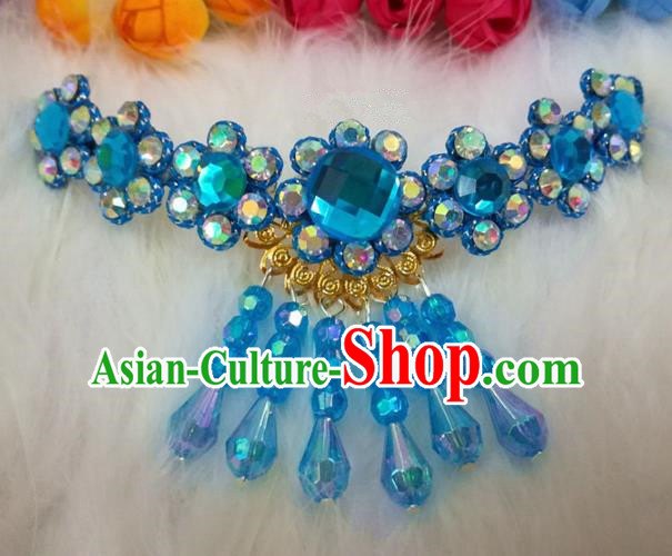 Chinese Traditional Beijing Opera Hair Accessories Peking Opera Diva Blue Crystal Frontlet Hairpins for Adults