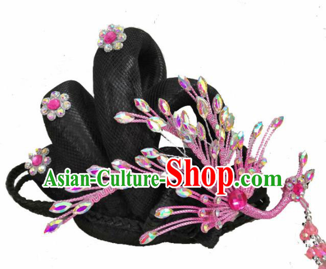 Chinese Traditional Beijing Opera Hair Accessories Peking Opera Diva Pink Phoenix Hairpins for Adults