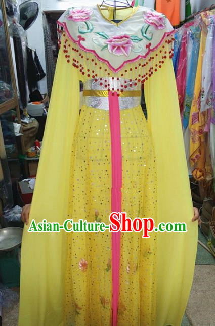 Chinese Traditional Beijing Opera Diva Costume Peking Opera Young Lady Yellow Dress for Adults