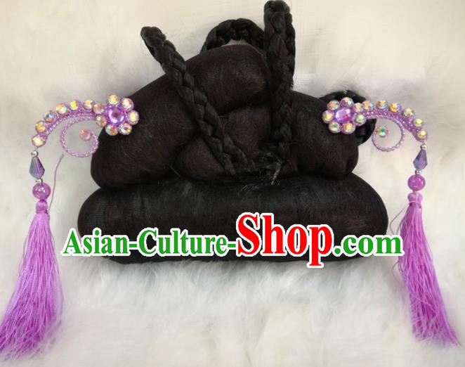 Chinese Traditional Beijing Opera Hair Accessories Peking Opera Purple Tassel Hairpins for Adults