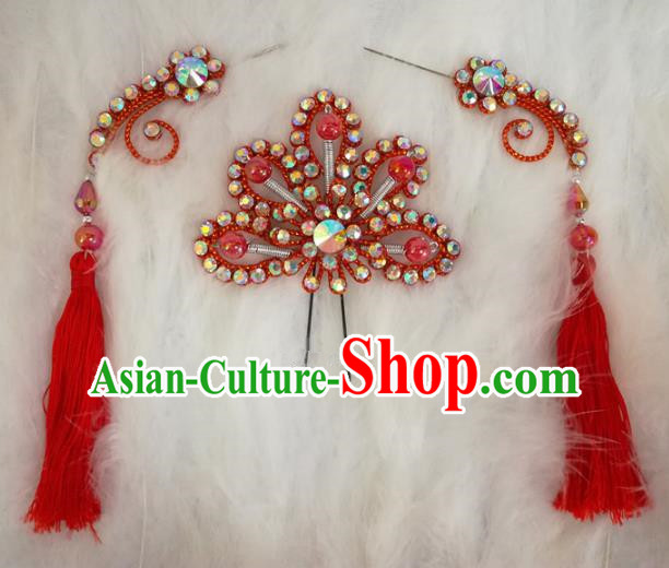 Chinese Traditional Beijing Opera Hair Accessories Peking Opera Red Flower Hairpins Tassel Step Shake for Adults