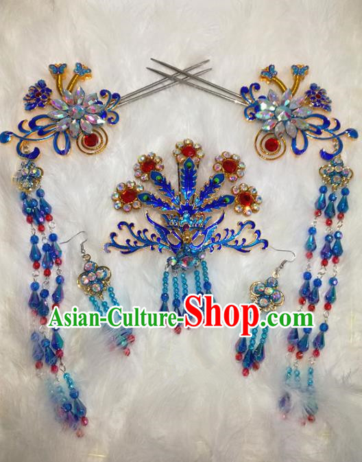 Chinese Traditional Beijing Opera Hair Accessories Peking Opera Blueing Phoenix Tassel Hairpins for Adults
