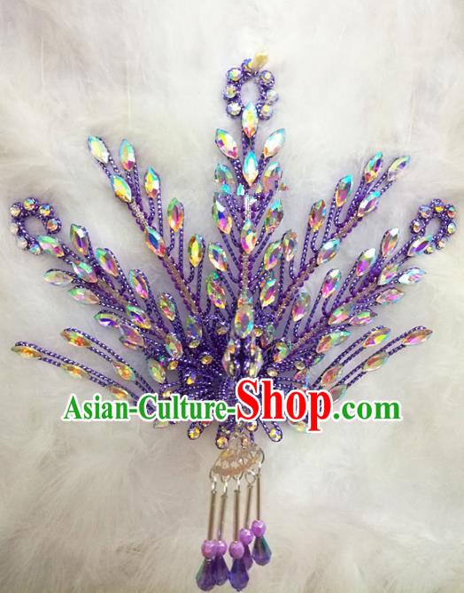 Chinese Traditional Beijing Opera Hair Accessories Peking Opera Princess Purple Phoenix Hairpins for Adults