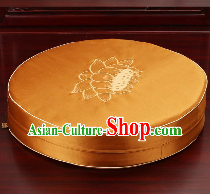Chinese Classical Household Ornament Traditional Rush Cushion Cover Golden Brocade Mat Cover