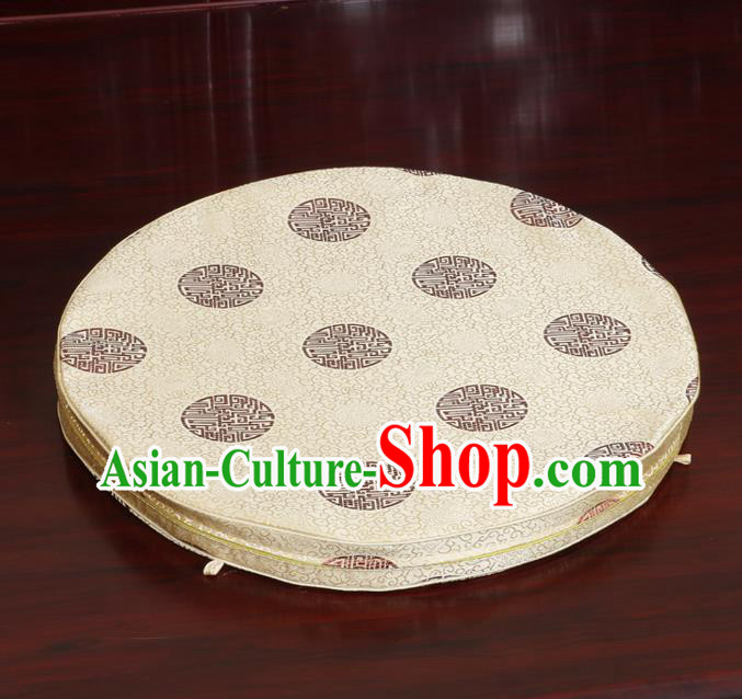 Chinese Classical Household Ornament Traditional Golden Brocade Rush Cushion Cover Mat Cover