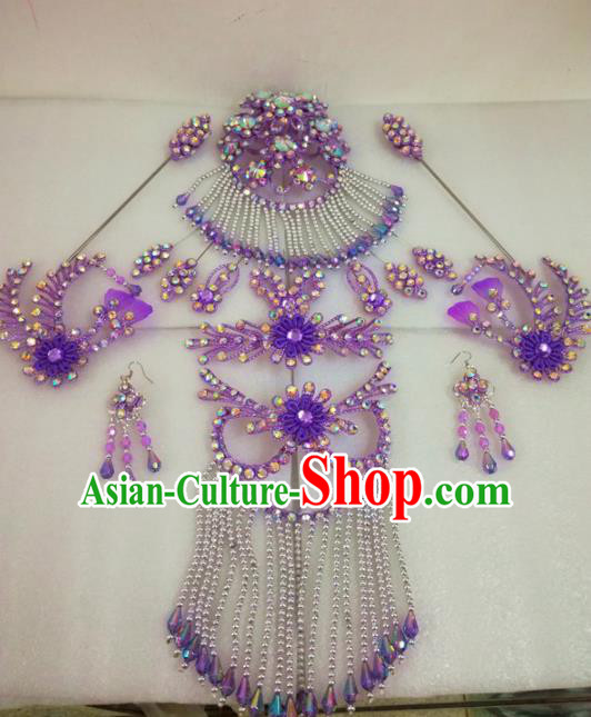 Chinese Traditional Beijing Opera Hair Accessories Peking Opera Princess Purple Hairpins Complete Set for Adults